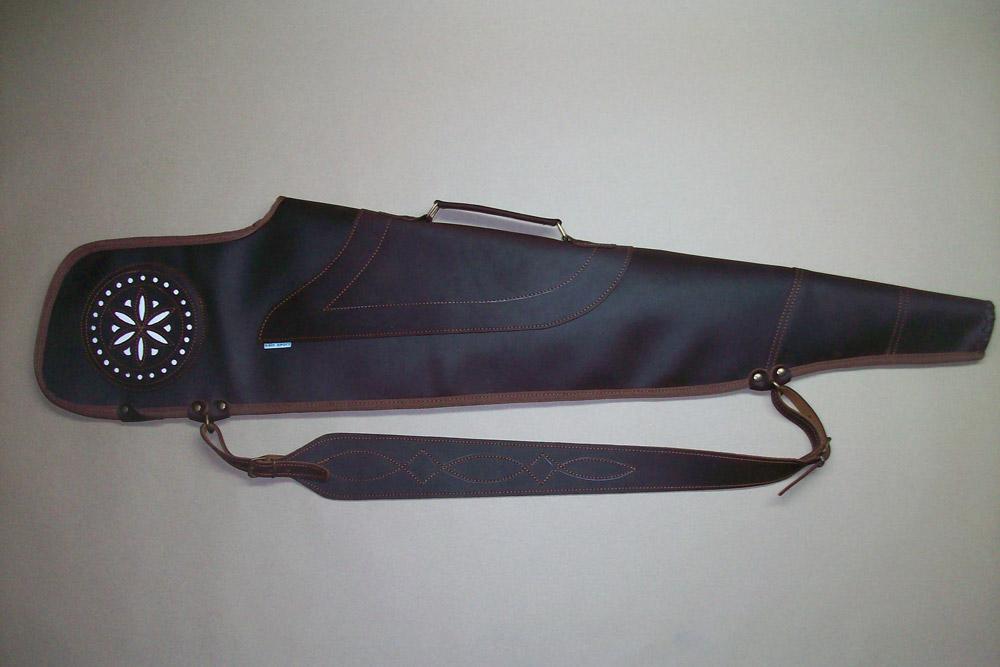 Funda para rifle con visor en piel engrasada con dibujo